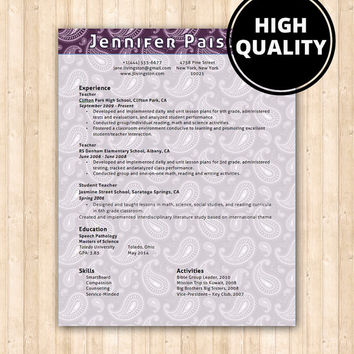 Paisley Resume Template - Modern Resume Template - Instant Download - Microsoft Word DocX and Doc Format