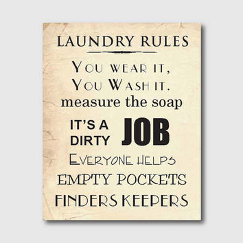 Laundry Room Wall Art - Laundry Rules - Typography - 8 x 10 print on vintage or chalkboard background