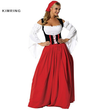 KIMRING SEXY GERMAN WENCH OKTOBERFEST COSTUME COSPLAY PLUS SIZE BEER MAID PEASANT DRESS COSTUME ADULT HALLOWEEN COSTUME WOMEN
