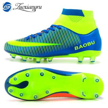 Newest High Ankle Men Football Shoes Training Professional Soccer Shoes Long Spikes Hard-wearing Sports Outdoor Lawn Lace-up