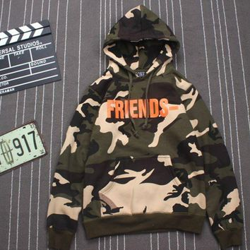 ONETOW Trendy Vlone Friends Print Camouflage Women's Long  Sleeve Hoodies Sweater