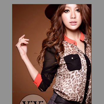 Leopard Patchwork Long Sleeve Chiffon Blouse