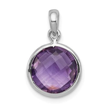 925 Sterling Silver Rhodium Plated Amethyst Round Shaped Pendant
