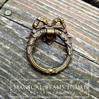 KBC Vintage Period Hardware; Victorian Dark Brass Ribbon Bow Ring Pulls by MagicalBeansHome.com