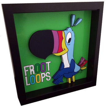Froot Loops Cereal Box Art Toucan Sam Funny Kitchen Art Breakfast Cereal Mascot Cartoon 3D Pop Art Print