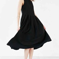 Silence + Noise Pleated Skirt Midi Dress- Black