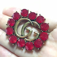 GUCCI New fashion more diamond women brooch accessories Red