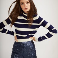 Navy and White Striped T-Neck Sweater