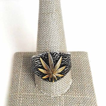 TwoTone Stainless Steel Leaf Ring
