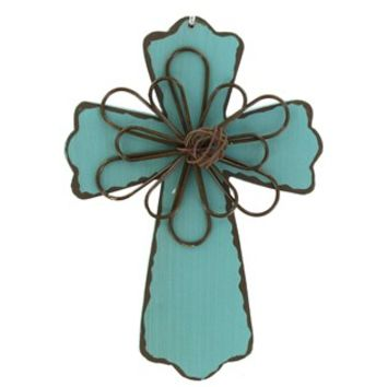 "6"" Turquoise Wood Cross Plaque with Wire Interior 