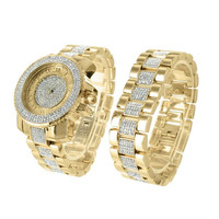 Iced Out  Bling Master Watch Bracelet Set Techno Pave Lab Diamond