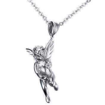Vintage Angel Wings Shape Necklace For Men - Silver