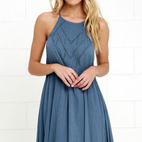 Leaf in the Wind Blue Embroidered Dress