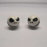 Jack Skellington Post Earrings, Polymer Clay