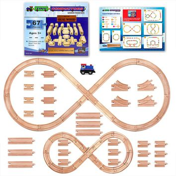 67 Piece Wooden Train Track Set with Train Car by Tiny Conductors - 100% Real Wood Compatible with Thomas and All Other Major Brands Wooden Toy Railroad Sets (67-Piece)