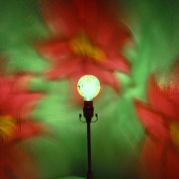XMAS in JULY Hand-Painted Poinsettia Mood-Light Bulb 4 CHRiSTMAS Night Lights, Holiday Parties, Mood Lighting, Kid's Lamps, Color Therapy!
