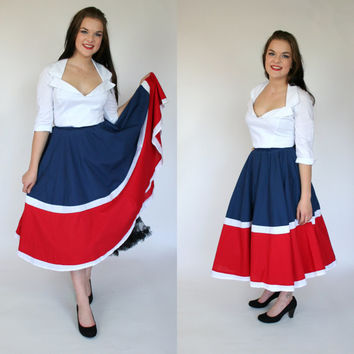 1950's circle skirt red white and blue patriotic 4th of July color block cotton full mid calf length high waist skirt XS size 4