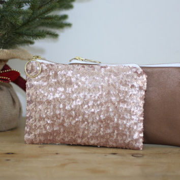 Blush Pink Sequins and Copper Leather Clutch / Rose Gold Cosmetic Case / Fancy Bridesmaid Gift - Almquist Design Studio