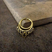 Fake Septum Ring, Non Pierce Antique Gold Septum,Also for ears, Cartilage Ring, Indian Bollywood Jewelry, Tribal Jewelry