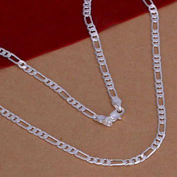 4mm Silver Plated Figaro Chain Necklace
