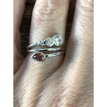 SAMPLE SALE  Bypass Bezel Set & Garnet Russian Lab Diamond Ring Size 6