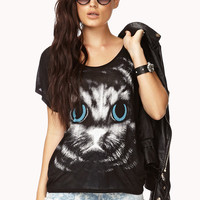 Black Cat Face Cutout Back T-Shirt