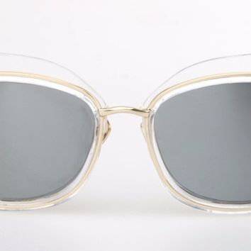 Clear Framed Smoke Lens Cat Eye Sunglasses