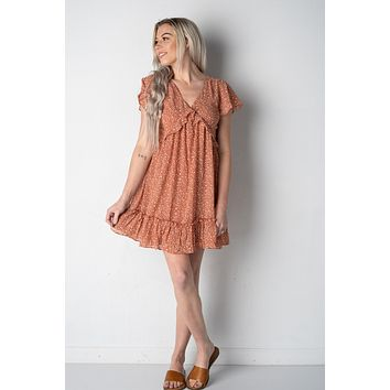 Light Clay Ruffled Hem Dress