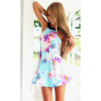 2015 New Arrival Summer Casual Women Dress Print Floral Sexy Backless Sleeveless Dresses Spaghetti Strap Dress