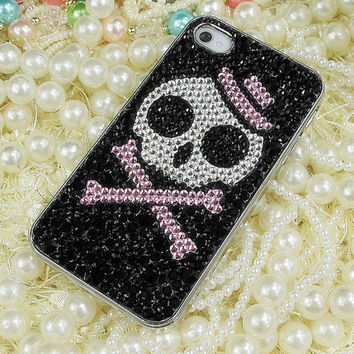 Vintage Pink Hat Skull Design Swarovski Crystal Rhinestone Bling iPhone Case // iPhone 5 Case // Unique iPhone 4s Case // iPhone 4 Case