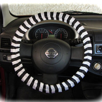 Steering wheel cover for wheel car accessories striped white - black wheel cover