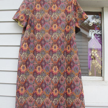 Tapestry Dress, Damask Shift Dress, Pink Orange Navy Olive Purple