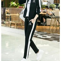 """Chanel"" Fashion Casual Letter Print Cardigan Zip Set Two-Piece Long Sleeve Sportswear"