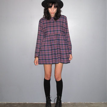 Plaid Grunge Dress - Long Sleeve 90s Boho Loose Baby Doll VTG - Size M/L/XL