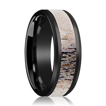 HORN Ombre Deer Antler Inlaid in Ceramic Wedding Band