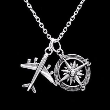 Airplane Compass Travel Long Distance Best Friends Sisters Gift Necklace