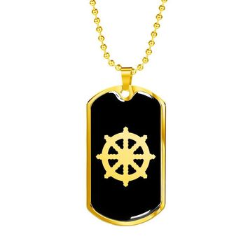 Dharma Wheel v2 - 18k Gold Finished Luxury Dog Tag Necklace