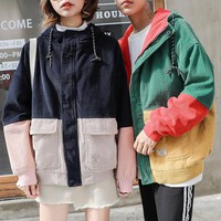 Woman Jackets 2017 Winter Korean Hooded Zipper Coat Corduroy Jacket Harajuku Vadim Loose Warm Bomber Jacket Large Size S-3xl Bts