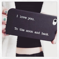 "Black ""i love you to the moon and back"" iPhone 4 4S Hipster Phone Case"