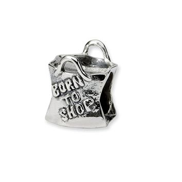 Sterling Silver, Born to Shop, Shopping Bag Bead Charm