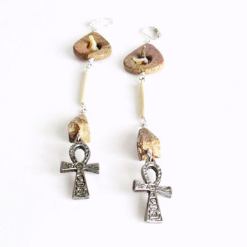 Extra Long Ankh Earrings. Mixed Stones & Bone. Tribal Statement Jewelry