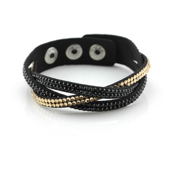 Pure Strength Gold & Black Leather Wrap Bracelet with Crystal Studs