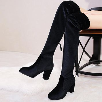 Stylish high-heeled high-knee boots with chunky elastic suede zippers Black