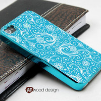 blue silvery iphone 4s case cool iphone 4 cover colorized blue flower unique Iphone case design iphone 4 case eletroplate