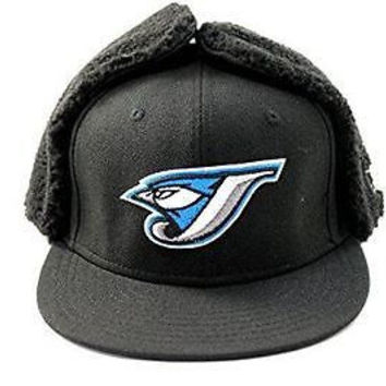 New Era Men's Dog Ear Toronto Blue Jays Black Winter Hat (7 3/4)