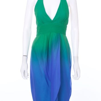 BCBGMAXAZRIA NEW Blue and Green Ombre Halter Silk Chiffon Dress Size 12