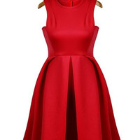 Red Pleated Dress