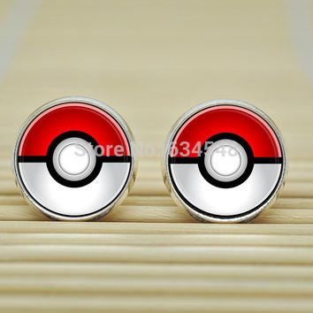 1pair Pokemon Pokeball Earrings jewelry glass Cabochon Earrings B3148