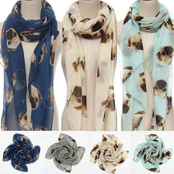 Large Women Winter Warm Animal Pugs Dog Print Wrap Scarf Shawl Stole Pashmina = 1957867524