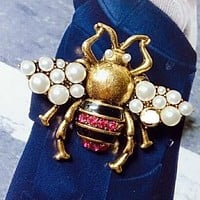 GUCCI Stylish Women Chic Retro Diamond Pearl Bee Brooch Ring Jewelry Accessories
